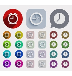 modern flat time icons set vector image
