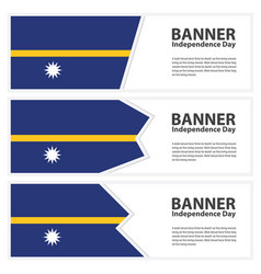 Nauru flag banners collection independence day vector