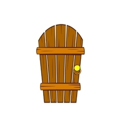 Old arched wooden door icon cartoon style vector image