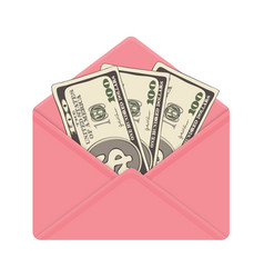 One hundred dollar banknotes in open pink envelope vector