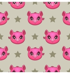 Seamless pattern with funny pig faces vector