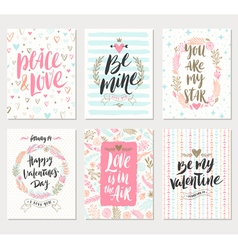 Set of Valentines Day greeting vector image vector image