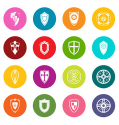 shields set icons many colors set vector image vector image