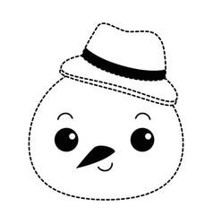 Snowman head with christmas hat kawaii character vector