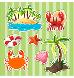 Sticker design island and sea animals vector