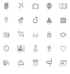 Trip line icons with reflect on white background vector image vector image