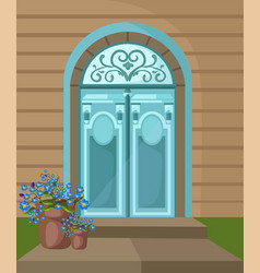 Vintage entrance door facade background vector