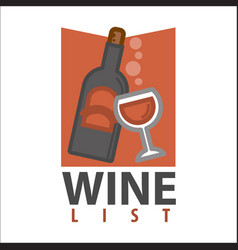 Wine list logo design isolated bottle with glass vector