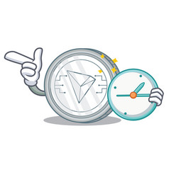 With clock tron coin character cartoon vector