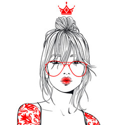 Young beautiful woman with glasses vector