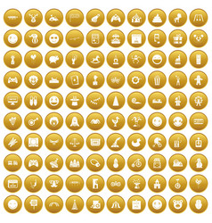 100 funny icons set gold vector