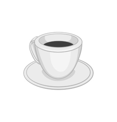 Cup of tea or coffee icon black monochrome style vector