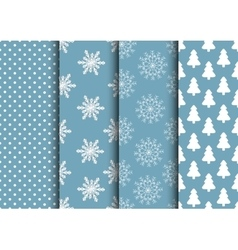 Set of blue and white seamless backgrounds for vector image