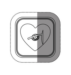 Sticker of monochrome rounded square with heart vector