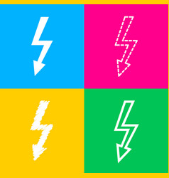 High voltage danger sign four styles of icon on vector