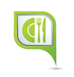 Restaurant icon on green pointer vector