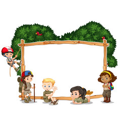 Frame template with kids camping in background vector