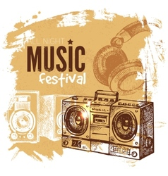 Music vintage background splash blob retro design vector