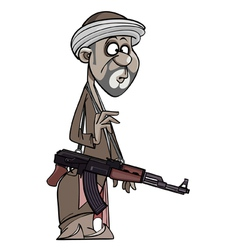 Arab man with a gun vector