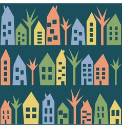 Color houses seamless pattern vector