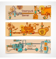 Steampunk banner set vector