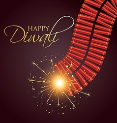 Diwali burning crackers vector
