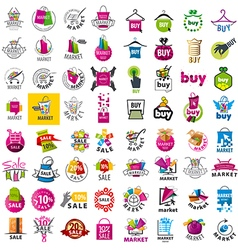 Large set of logos market and discount vector