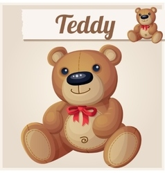 Teddy bear with red bow vector