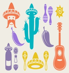 Mexico silhouette icons vector