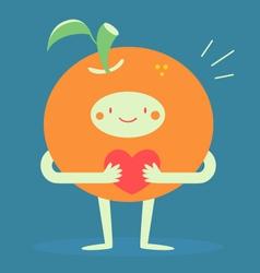 Cute orange hugging a heart vector
