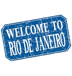 welcome to Rio De Janeiro blue square grunge stamp vector image
