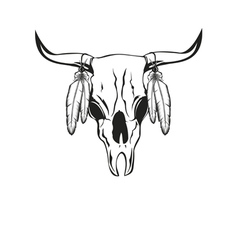 Skull bull with feathers vector