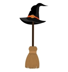 With hat and broomstick icons vector