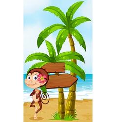 A monkey in a hawaiian attire dancing near the vector image vector image