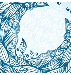 Blue hair waves doodle circle frame vector image vector image