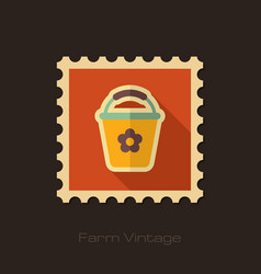 bucket retro flat stamp with long shadow vector image vector image