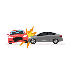 collision of cars car crash involving two cars a vector image