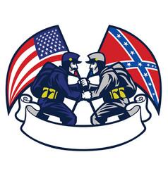 Confederate vs union soldier vector