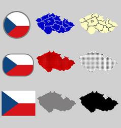 czech republic map with the czech flag vector image