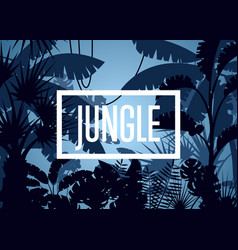 deep tropical jungle with palm leaves and trees vector image vector image