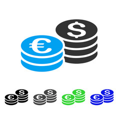 Dollar and euro coin stacks flat icon vector