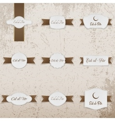 Eid al-fitr greeting labels set vector