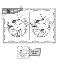 find 9 differences game gift tv vector image vector image