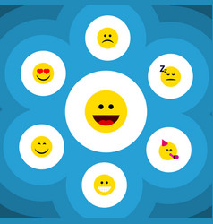 Flat icon expression set of laugh grin smile and vector