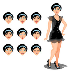 Girl emotions set of different facial expressions vector