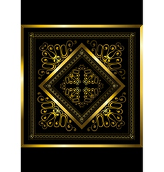 Gold frame with openwork ornament vector