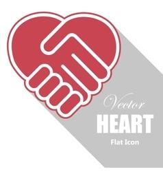Handshake in a heart shape vector image vector image