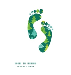 Holiday christmas trees footprints silhouettes vector