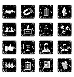 Human resource management set icons grunge style vector