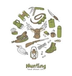 Hunting doodle set sketches vintage vector